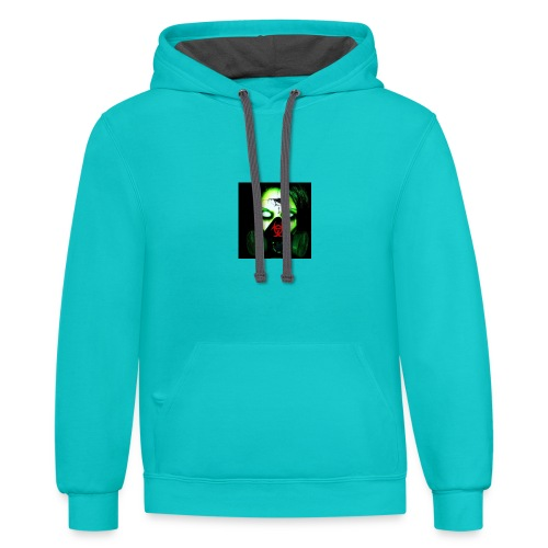 toxic zombie by bloodfiend69 - Contrast Hoodie