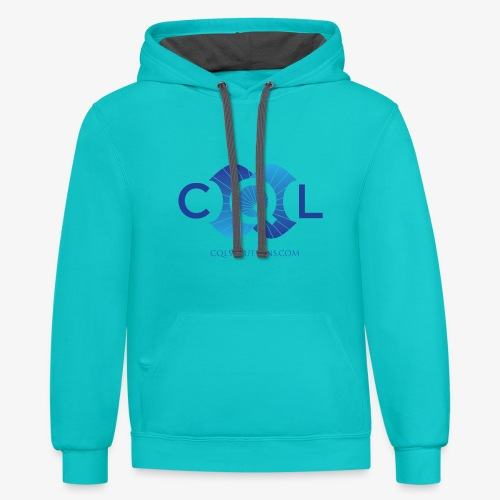 CQL Large Logo Float w URL - Contrast Hoodie