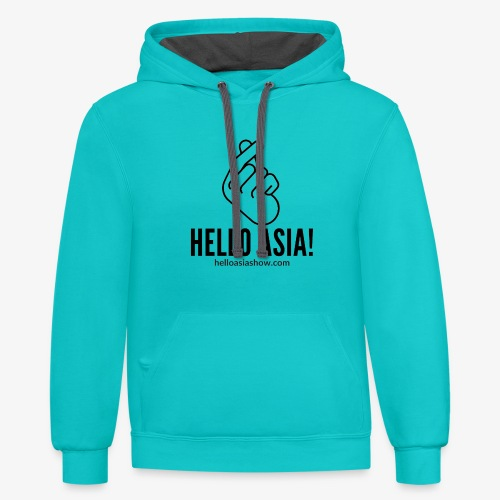 Hello Asia Logo clear png - Unisex Contrast Hoodie