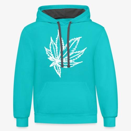 white leaf w/myceliaX.com logo - Contrast Hoodie