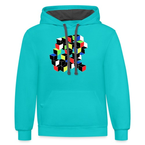 Optical Illusion Shirt - Cubes in 6 colors- Cubist - Contrast Hoodie