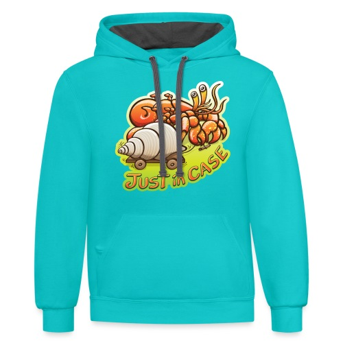 Hermit crab goes out but takes shell, just in case - Contrast Hoodie