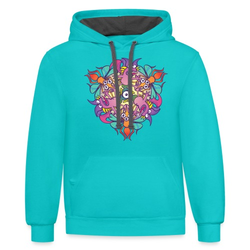 Mosquitoes, bats and fishes in doodle art style - Contrast Hoodie