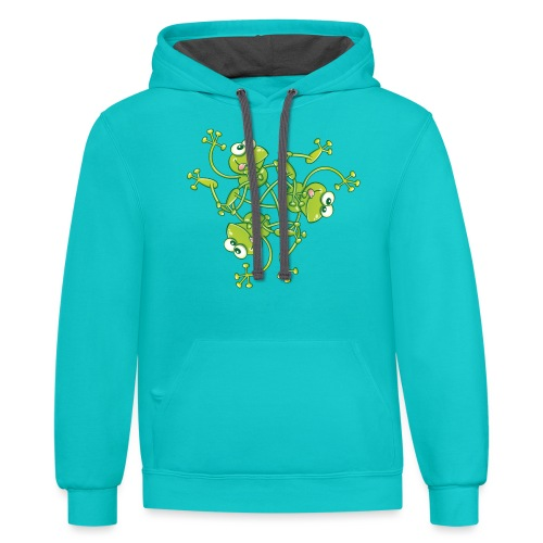 Frogs having fun when rotating in a pattern design - Contrast Hoodie