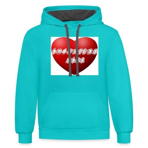 valentine ever - Contrast Hoodie