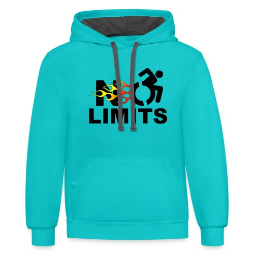 No limits for me with my wheelchair - Unisex Contrast Hoodie