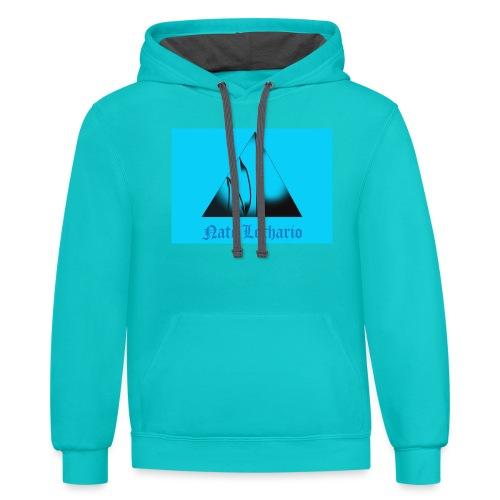 Aqua Blue Logo - Unisex Contrast Hoodie