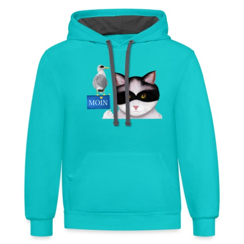 The masked Cat says MOIN - Unisex Contrast Hoodie