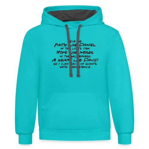 Face Your Giants with Confidence - Unisex Contrast Hoodie