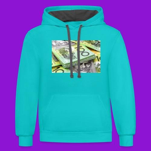 Australian Dollar 100 Notes 1 - Unisex Contrast Hoodie