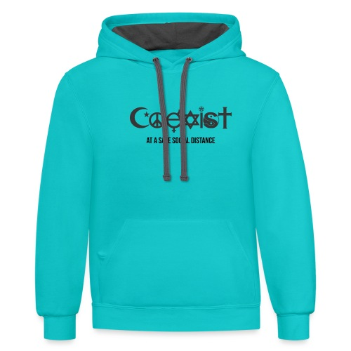 Coexist at a safe social distance - Contrast Hoodie