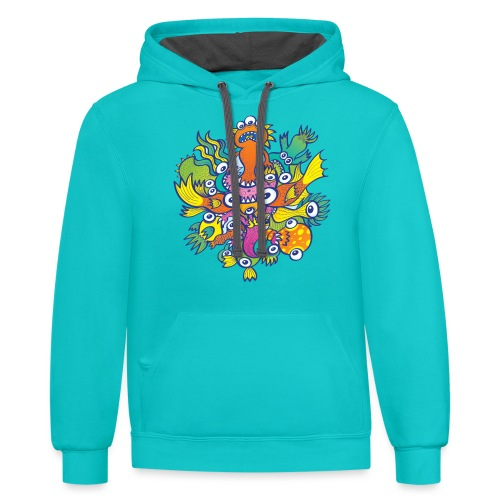 Don't let this evil monster gobble our friend - Contrast Hoodie