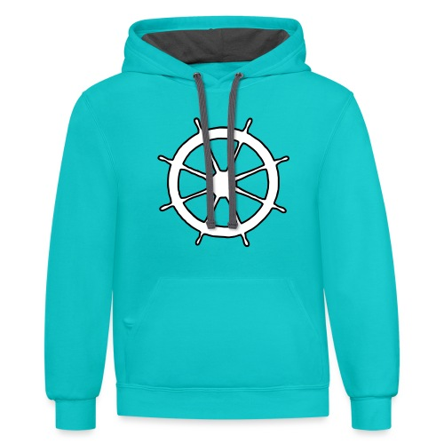 Steering Wheel Sailor Sailing Boating Yachting - Unisex Contrast Hoodie