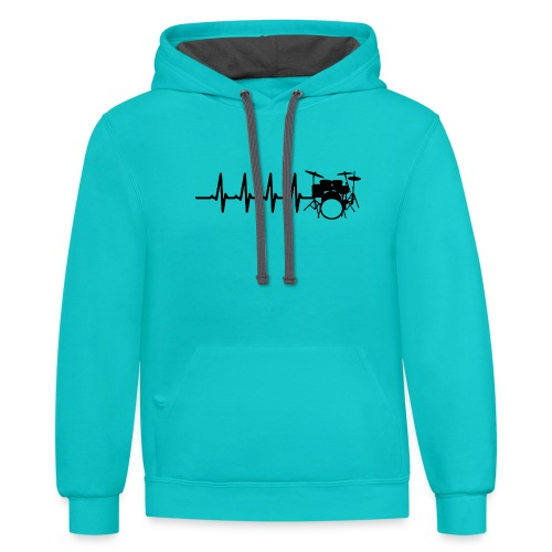 Drums Heartbeat Funny drummer - Contrast Hoodie