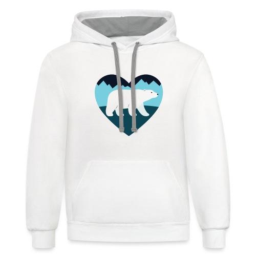 Polar Bear Love - Contrast Hoodie