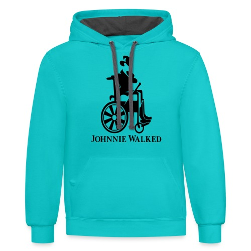 Johnnie Walked, Wheelchair fun, whiskey and roller - Unisex Contrast Hoodie