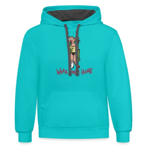 MEETING COMICS VAL WORK FROM HOME SHIRT - Unisex Contrast Hoodie