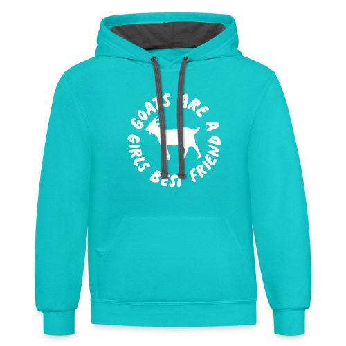 goats are a girls best friend - Contrast Hoodie