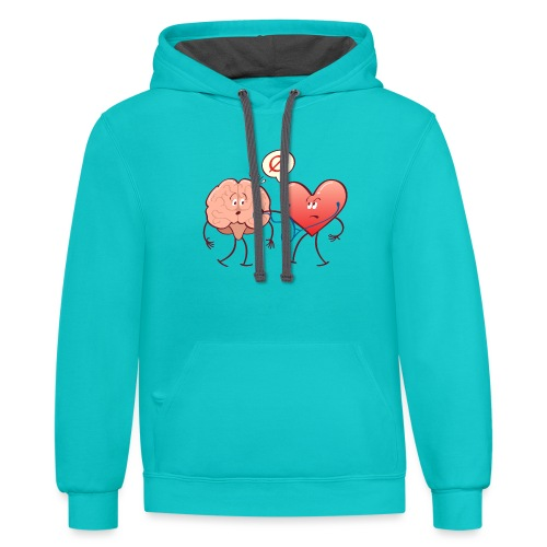Heart examinating Brain with Stethoscope - Unisex Contrast Hoodie