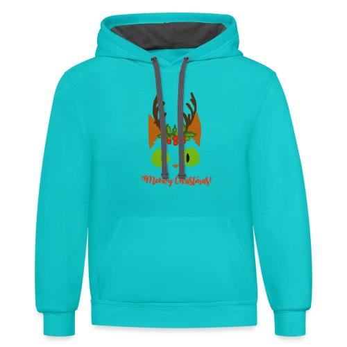 8 Tiny Reindeer - Unisex Contrast Hoodie