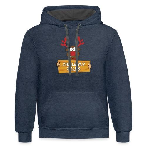 Red Christmas Horny Reindeer 1 - Contrast Hoodie