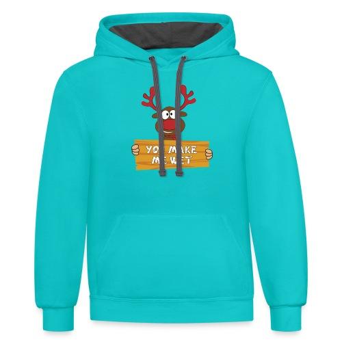 Red Christmas Horny Reindeer 2 - Contrast Hoodie
