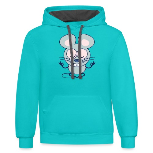 Gray mouse peacefully meditating in lotus pose - Contrast Hoodie