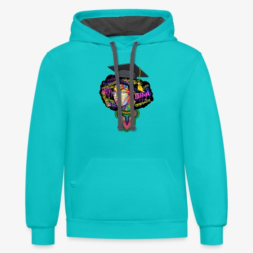 Smart Black Woman - Unisex Contrast Hoodie