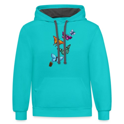 butterfly tattoo designs - Unisex Contrast Hoodie