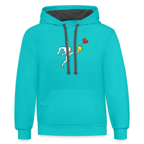 Furious white man violently kicking a red heart - Unisex Contrast Hoodie