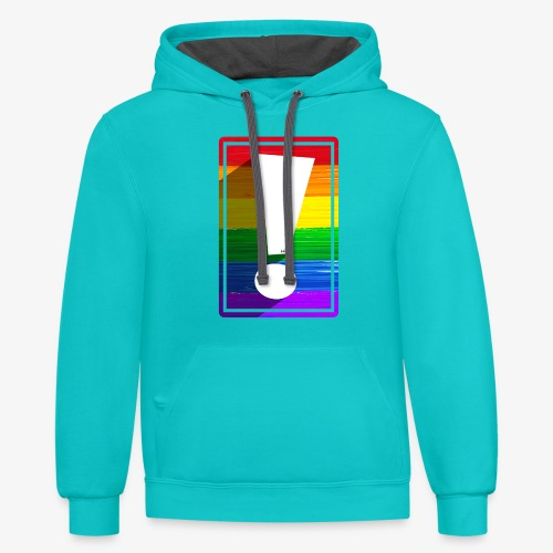 LGBTQ Pride Exclamation Point - Unisex Contrast Hoodie