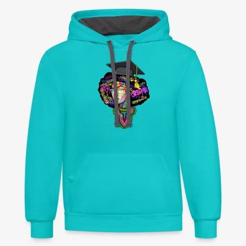 Black Educated Queen School - Unisex Contrast Hoodie