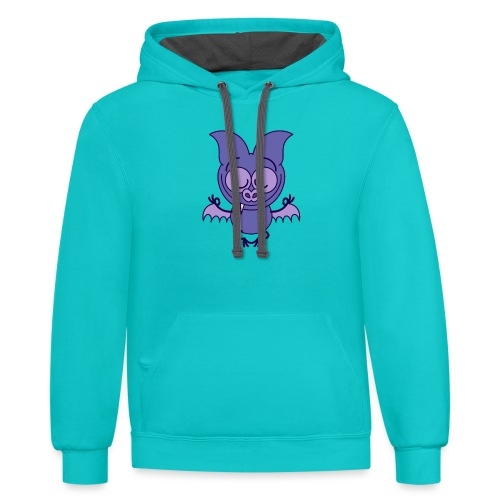 Purple bat meditating in joyful mood - Contrast Hoodie