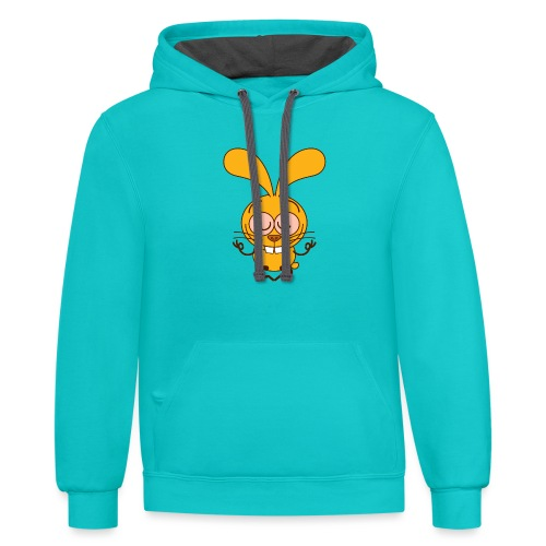 Yellow bunny meditating in lotus pose - Contrast Hoodie