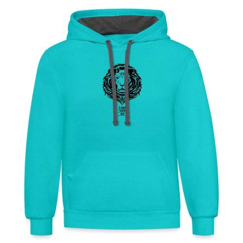 Lion Take life on - Unisex Contrast Hoodie