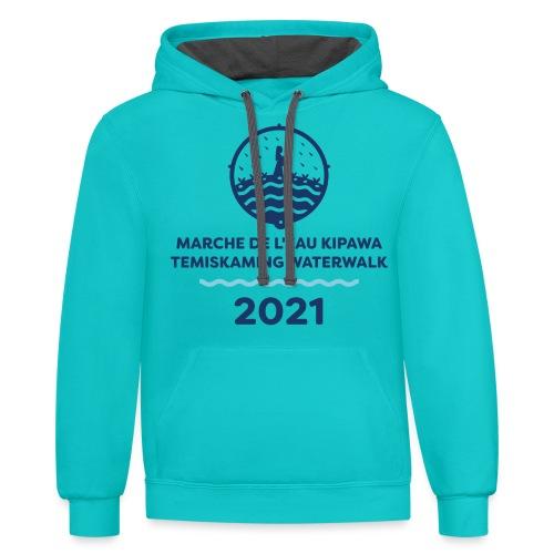 Marche de L'eau Kipawa Temiskaming Water Walk 2021 - Unisex Contrast Hoodie