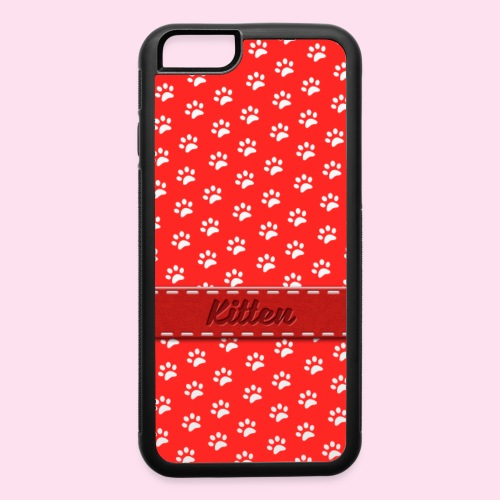 kitten collar red - iPhone 6/6s Rubber Case