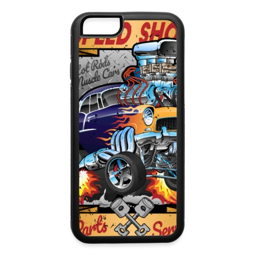 Speed Shop Hot Rod Muscle Car Cartoon Illustration - iPhone 6/6s Rubber Case