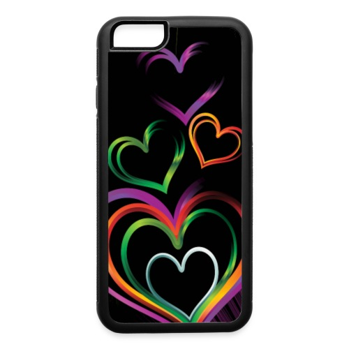 background with glossy rainbow heart f1csd65u L - iPhone 6/6s Rubber Case