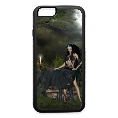 Awesome black wolf with wonderful dark fairy - iPhone 6/6s Rubber Case