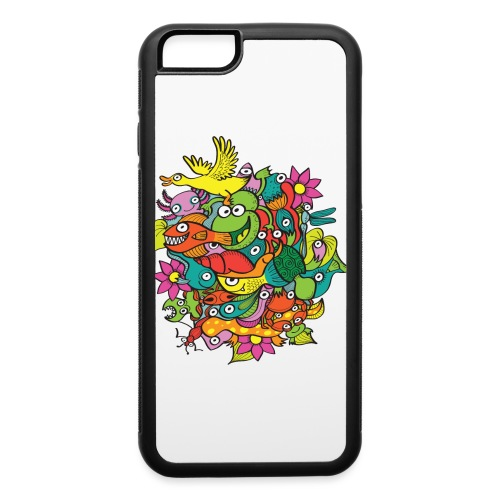 Amazing crowd of funny creatures living in a pond - iPhone 6/6s Rubber Case