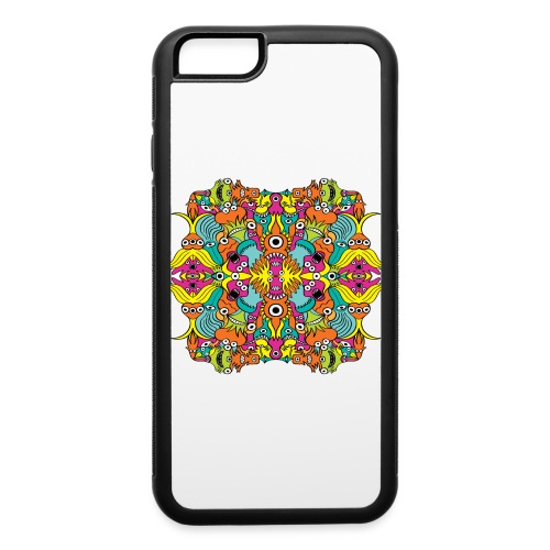 Aquatic monsters in a pattern in doodle art style - iPhone 6/6s Rubber Case