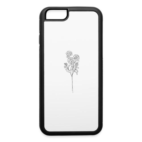 Minimal Floral Line Art Print - iPhone 6/6s Rubber Case