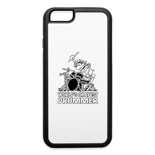 World's Okayest Drummer Cartoon Illustration - iPhone 6/6s Rubber Case
