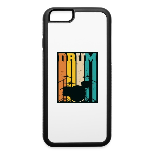 Retro Drum Set Silhouette Illustration - iPhone 6/6s Rubber Case