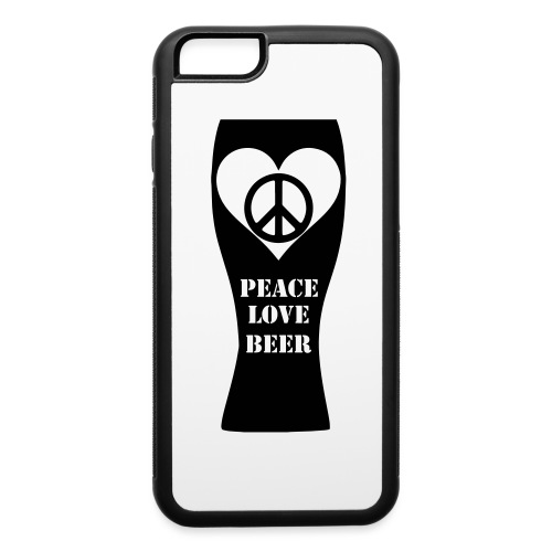 Peace Love Beer (Black) (Vector) - iPhone 6/6s Rubber Case