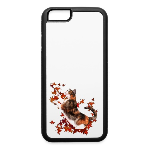 Autumn Cat - cat playing with autumn leaves - iPhone 6/6s Rubber Case