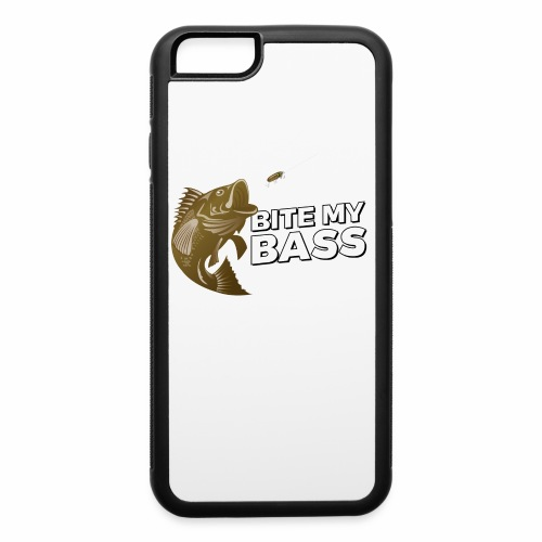 Bass Chasing a Lure with saying Bite My Bass - iPhone 6/6s Rubber Case