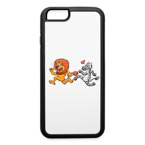 Bold zebra in love running after a scared lion - iPhone 6/6s Rubber Case