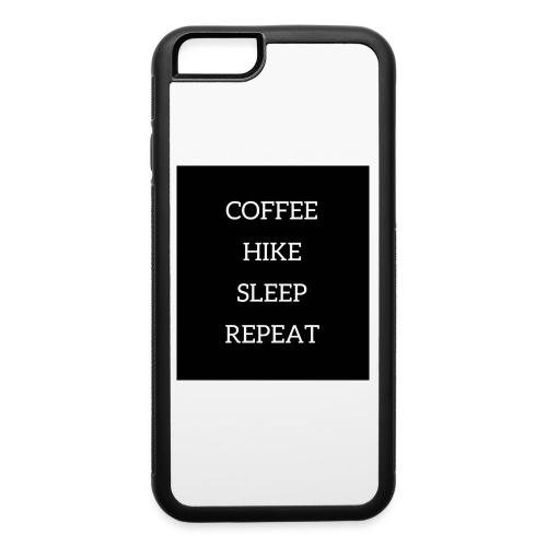 Coffee hike sleep repeat black background - iPhone 6/6s Rubber Case